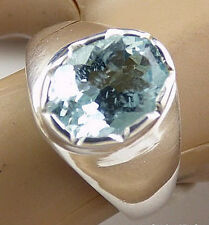 SOLID 925 STERLING PURE SILVER NATURAL BLUE TOPAZ GEMSTONE MENS RING JEWELRY