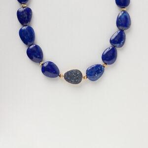 David Yurman Yellow Gold Lapis & Sapphire Bead & Chain Strand Necklace $4,800