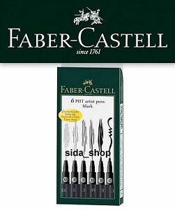 Faber Castell Tuschestift schwarz PITT artist pen Set black 6er Etui !bestprice!
