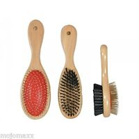 ROSEWOOD WOODEN DOUBLE SIDED BRUSH GROOMING PET ANIMAL CAT DOG BRUSH S, M, or L