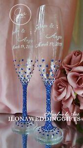 Personalized Swarovski Wedding Bling Sparkle Toast Glass Mr Mrs Bride Groom Boho