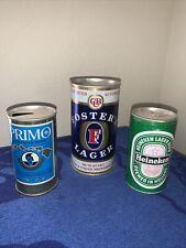 Beer Cans Fosters Australian Heineken Holland Primo Hawaiian Neat Lot Of 3 Old