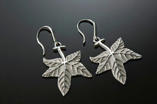 Sterling Silver High Relief, Hand Finished and Unique Sweetgum Leaf Earrings
