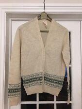 Vintage Pure New Shetland Wool Fairisle Cardigan Size 12 Womens Ladies Cream VGC