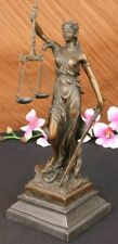 Bronze Marble Statue Lady Justice Scales Goddess Lawyer Sculpture Figurine Deco