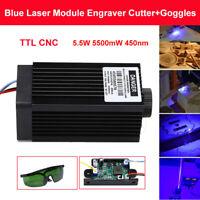 US DIY TTL CNC 5.5W 5500mW 450nm Blue Laser Module Engraving Machine +Goggles