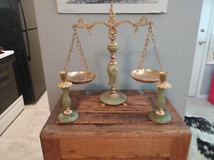 Antique Italian Brass and Marble Scales Of Justice and candle Holders Green