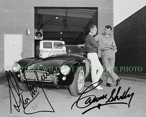 CARROLL SHELBY AND STEVE MCQUEEN SIGNED AUTOGRAPH 8x10 RPT MUSTANG COBRA PHOTO
