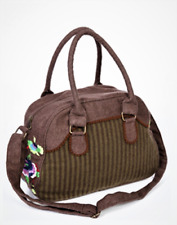Wool Grab Day Shoulder small overnight Bag in Brown and Olive Two Tones flower