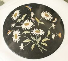 Dining Center Table Top Coffee Sunflower Inlay Black Madras Stone Rare Replica A