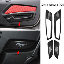 4*Real Carbon Fiber Inner Door Panel Decorative Cover For Ford Mustang 2009-2013