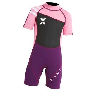 Girls Boy Short Sleeve Wetsuit Shorty UV Sun Protection Jumpsuit Rash Guard