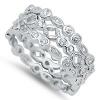 Sterling Silver 925 STACKABLE ETERNITY CLEAR CZ THREE RINGS SET 3MM SIZES 5-11