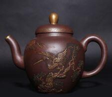 Awesome Exquisite Rare Old China Yixing Purple Zisha Teapot Mark QianLong PT347