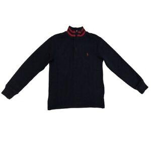 New Ralph Lauren Boy's Navy Blue 1/4 Zip Sweater SIZE M (10-12) MSRP $59.50