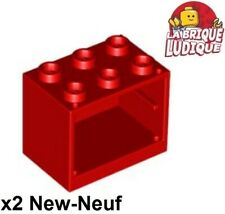 Lego - 2x Container coffre box cupboard 2x3x2 rouge/red 4532 NEUF