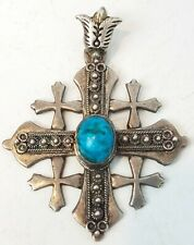 "Jerusalem Silver Cross Pendant 2.5"" w Stone Original Vintage neat"