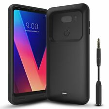 LG V30 Battery Case 4400mAh Portable Rechargeable External Charger Cover Black