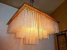 Vintage Mid Century CEILING LIGHT CHANDELIER 1000's of BEADS RETRO Bead Strings