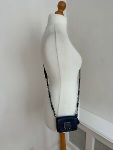 ANYA HINDMARCH Sparkly Blue Leather Locking Cross Body Mini Bag with Key