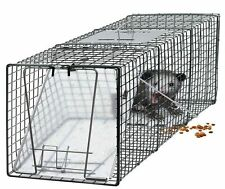 "Humane Small Live Animal Control Steel Trap Cage 32""x12""x12"" Raccoon Skunk Cat G"