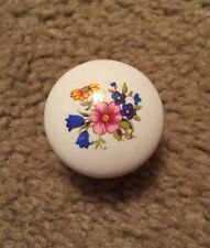 Lot of 2 NEW~ BRIGHT WHITE PORCELAIN FLOWERED Cabinet Knobs Handles + Screws