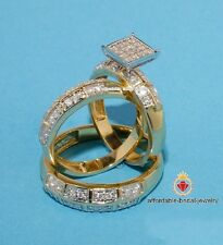 His & Hers Diamond Engagement Bridal Wedding Band Ring 14k Yellow Gold Trio Set