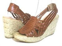 Women's  Michael Kors Espadrille Brown Leather Strappy Weave Wedge Sandals SZ 6M
