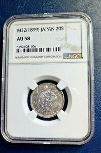 1899 (M32) Japan 20S  Dragon Silver Coin NGC AU58