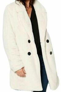 New Womens Studio Teddy Faux Fur Double Breasted Jacket Coat Cream Sz UK 24 (B1)