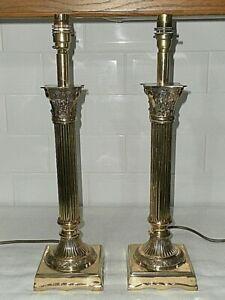 Pair of Ornate Brass David Hunt Lighting Corinthian Column Table Lamp's