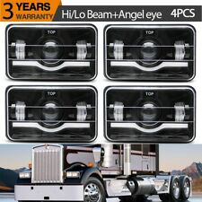 Black LED 4x6 Rectangular Projector CREE LED Headlights High Low Beam DRL Lamp