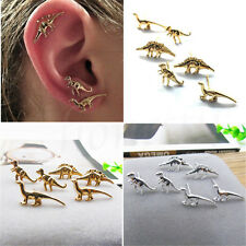 3/6Pairs Gold Silver Dinosaur Earrings Cute Ear Stud Small Unisex Set Jewelry