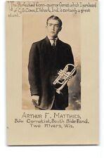 WI-Two Rivers-Matthies-C.G.Conn Cornet-Elkhart-Advertising-Real Photo Postcard