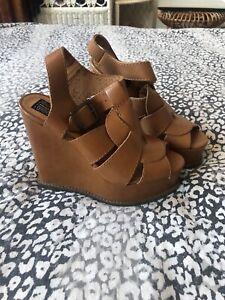Bertie Ghita Leather Tan Buckle Sandals Platform Wedge Brand New UK5 / 38