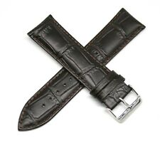 "Lucien Piccard 24MM Alligator Grain Real Leather Watch Band 8"" DARK BROWN Silver"