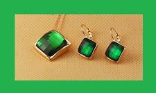 Juego Collar Cadena Oro Pendientes con verde cristal tallado en Facetas Piedras