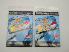 POKEMON Pikachu Charizard THANK YOU cards (2) 8 packs Pokemon Party Brand New!!!
