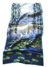 künstlerisch Seidenschal MONET SEEROSEN Kunstdruck Schal Tuch SEIDE Handrolliert