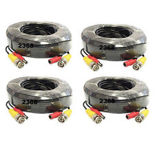 4x 30ft 4K All-in-One BNC Video Power Security Extension Cable for CCTV System