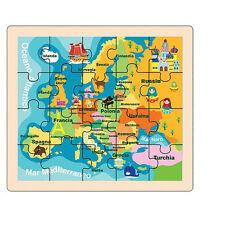 PUZZLE IN LEGNO EUROPA PICCOLO GIOCHI EDUCATIVI GIOCATTOLI BAMBINI REGALO