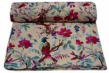 Red Bird Dressmaking Indian Cotton Fabric Quilting Craft Material By The 5 Yard