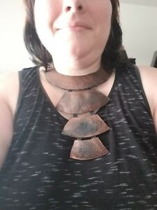 NWOT LEATHER BLACK AND COPPER BIB NECKLACE HANDMADE IN ISRAEL
