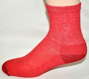 Red 1/2 Crew Socks 3 Pair Women's Size 9-11 Made In The USA!!