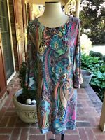 "Tommy Hilfiger Women""s Paisley Bell Sleeve Floral Sheath Dress Sz 14 Cocktail"