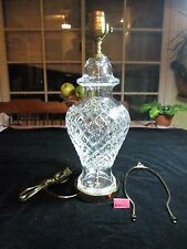 """WATERFORD CRYSTAL TABLE LAMP, HOLLYWOOD REGENCY STYLE,29"""" TO FINIAL,DIAMOND CUTS"""