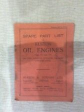 RUSTON VO VH SERIES IND. MARINE LOCOMOTIVE DIESEL ENGINE FACTORY PARTS CATALOGUE