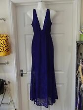 Blue Lace Dress by ONAYAYA Full Length Maxi Low Bust NWT Size Large/Size 10-12