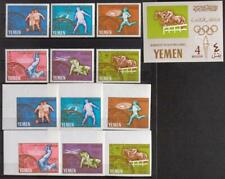 YEMEN 1965 OLYMPICS, XF MNH** Sheet + Imperf+Perf Set, Sports, Equestrian Stamps