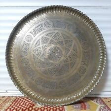 Handmade Antique Persian heavy unique  story  Egraved Copper TRAY 76cm